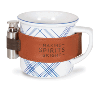Plaid Ceramic 12 oz Mug with Flask, White