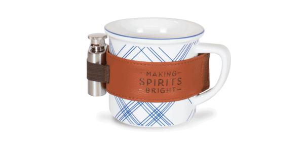 Plaid Ceramic 12 oz Mug with Flask, White