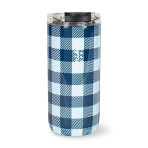 Stainless Steel Buffalo Plaid Tumbler, Blue and White, Caribou Coffee