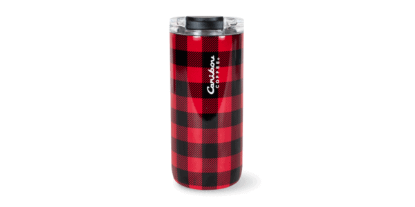 Stainless Steel Buffalo Plaid Tumbler, Red and Black, Caribou Coffee