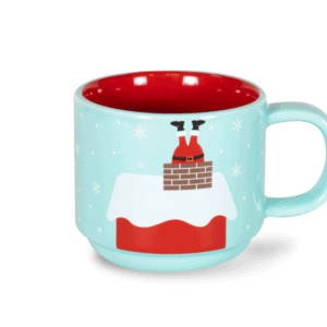 Bottoms Up Santa 10oz Ceramic Mug Front