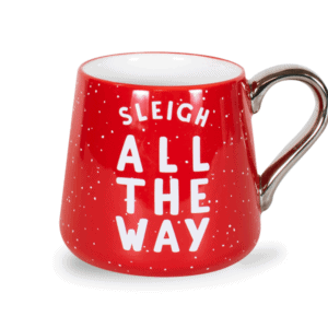 Sleigh All the Way 16 oz Ceramic Mug Front, Red