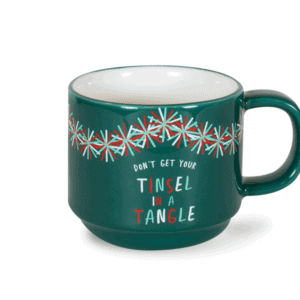 Tinsel in a Tangle Festive 10oz Ceramic Mug Front, Green