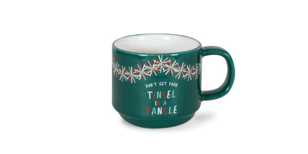 Tinsel in a Tangle Festive 10oz Ceramic Mug Front, Green