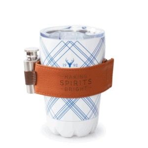 White Plaid Tumbler with Flask, 10oz