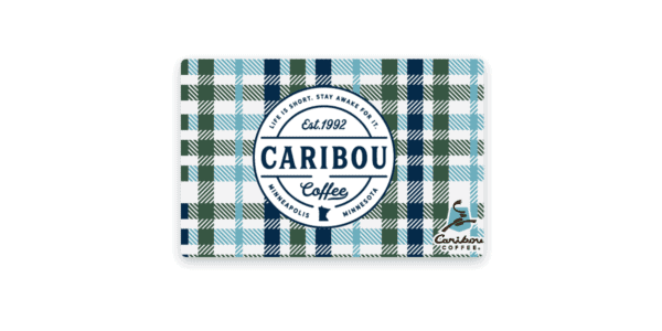 caribou coffee plaid gift card, denominations of $5-$25