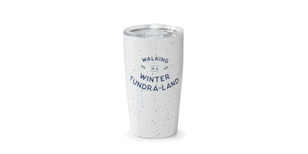 Walking in a winter tundra-land tumbler, white, front