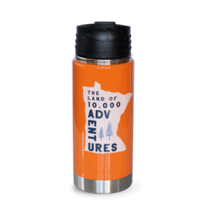 MN Adventures Stainless Tumbler, Orange, Front