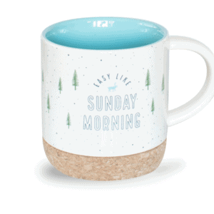 Easy Like Sunday Morning Mug, Cork Bottom, Front