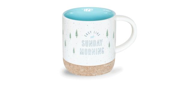 Easy Like Sunday Morning Mug, Cork Bottom, Front
