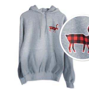 Red and Black Buffalo Plaid Caribou Hoodie - Light Grey