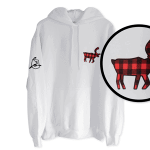 Red and Black Buffalo Plaid Caribou Hoodie - White