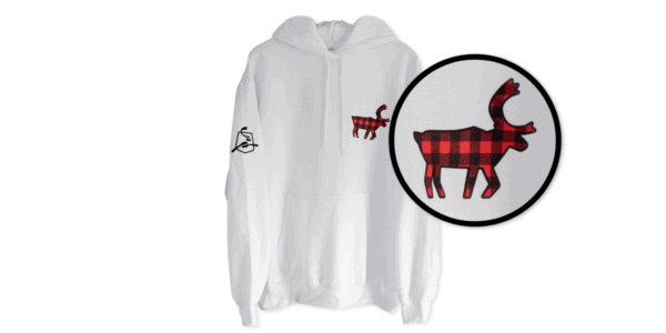 Red and Black Buffalo Plaid Caribou Hoodie - White