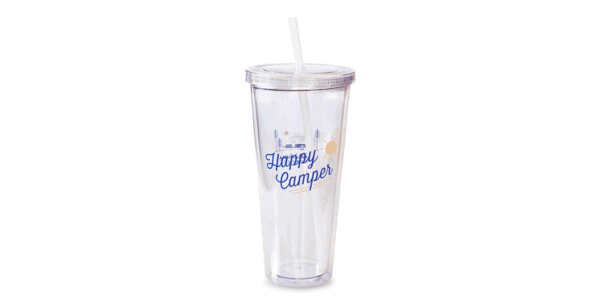 20oz Happy Camper Clear Front