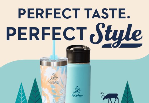 Perfect Taste Perfect Style. Water bottle and tumbler